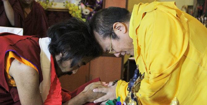 La première rencontre de Yongey Mingyur Rimpotché et Khenting Tai Situ Rimpotché. Photo: Paul McGowan